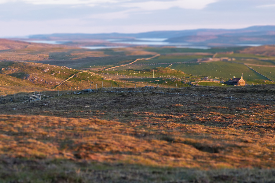 Late sun, viewing SSE from Underhoul, Unst, Shetland. False tilt-shift effect